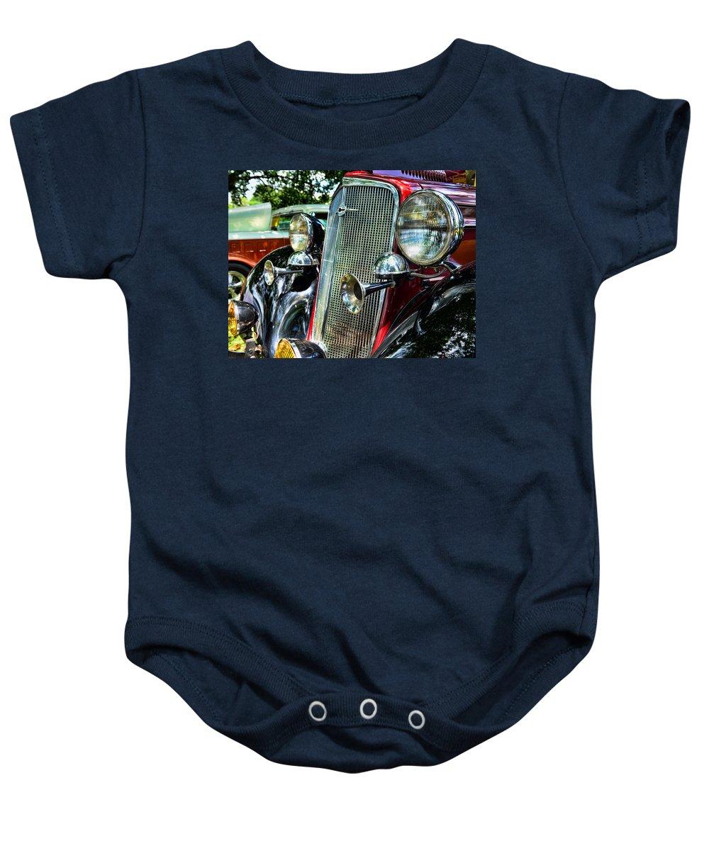 1934 Chevrolet Front Enc Baby Onesie featuring the photograph 1934 Chevrolet Head Lights by Paul Ward