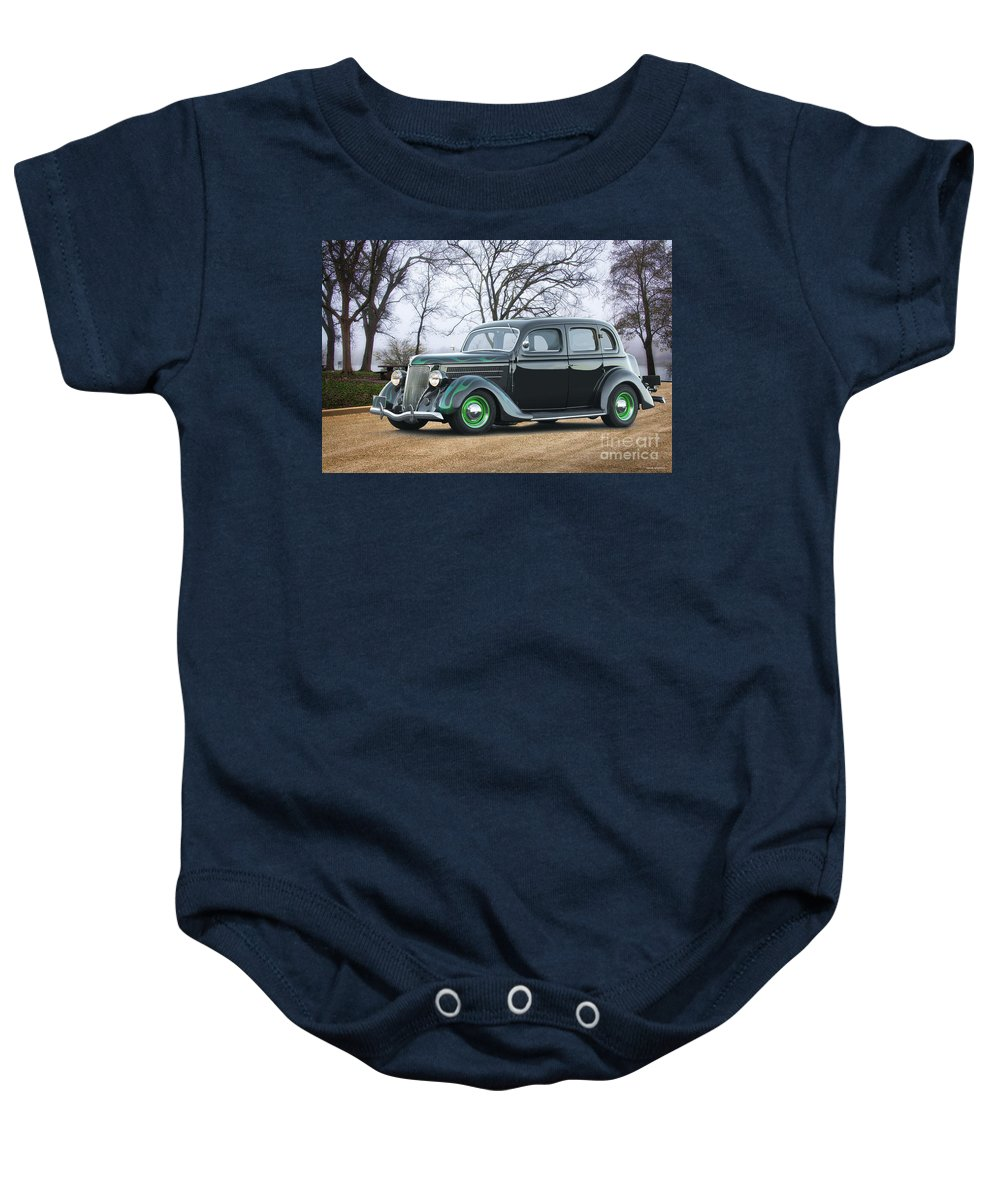 Auto Baby Onesie featuring the photograph 1936 Ford Deluxe Sedan I by Dave Koontz