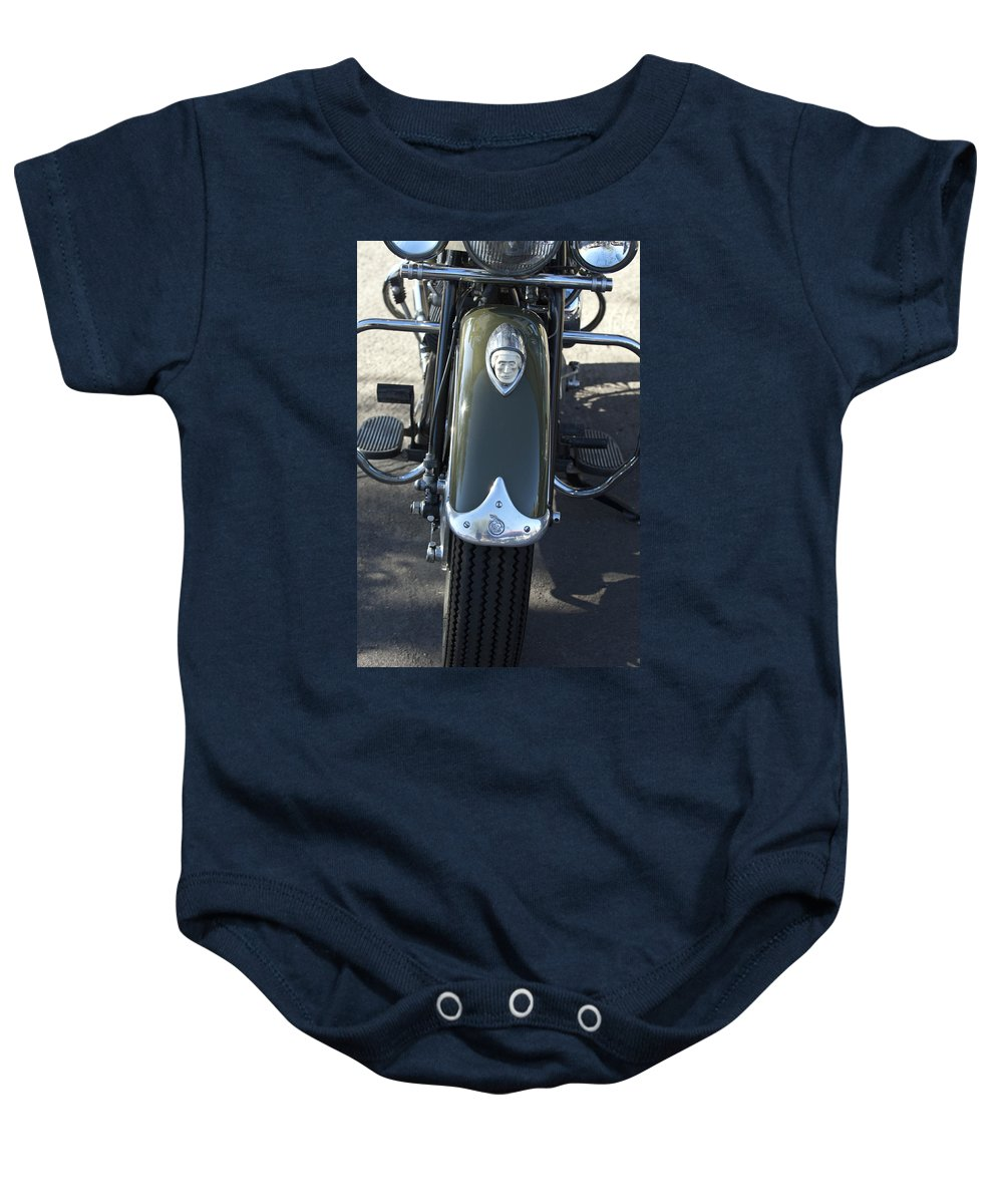 1948 Indain Chief Motorcycle Baby Onesie featuring the photograph 1948 Indian Chief Motorcycle Hood Ornament by Jill Reger