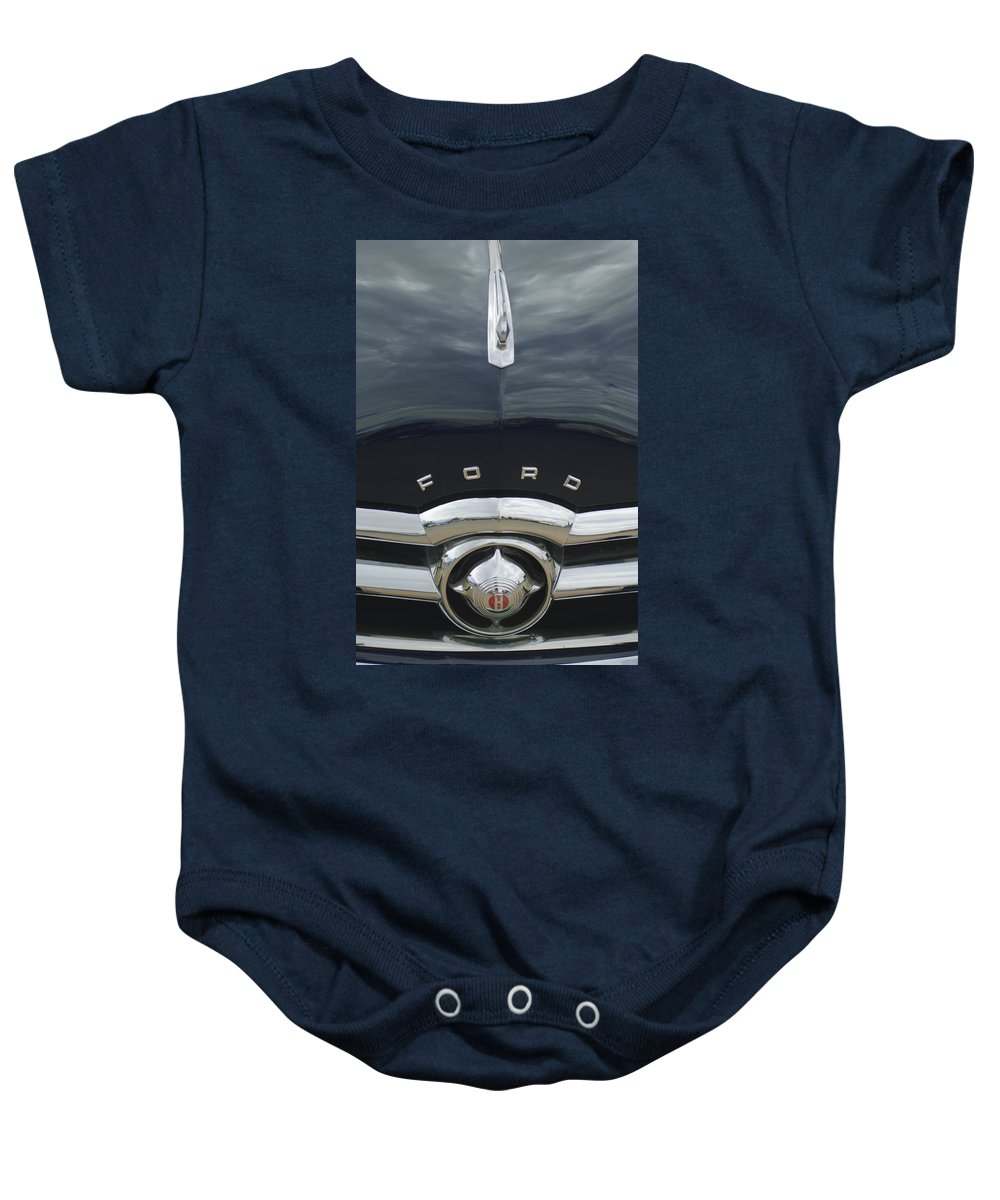 1949 Ford Baby Onesie featuring the photograph 1949 Ford Hood Ornament 4 by Jill Reger