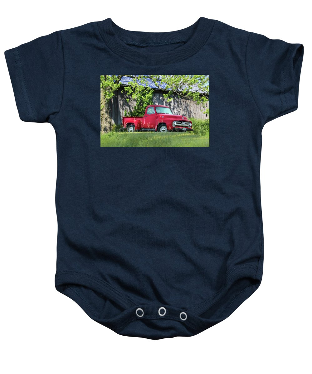 Truck Baby Onesie featuring the photograph 1955 Ford F100 Truck by Lori Deiter