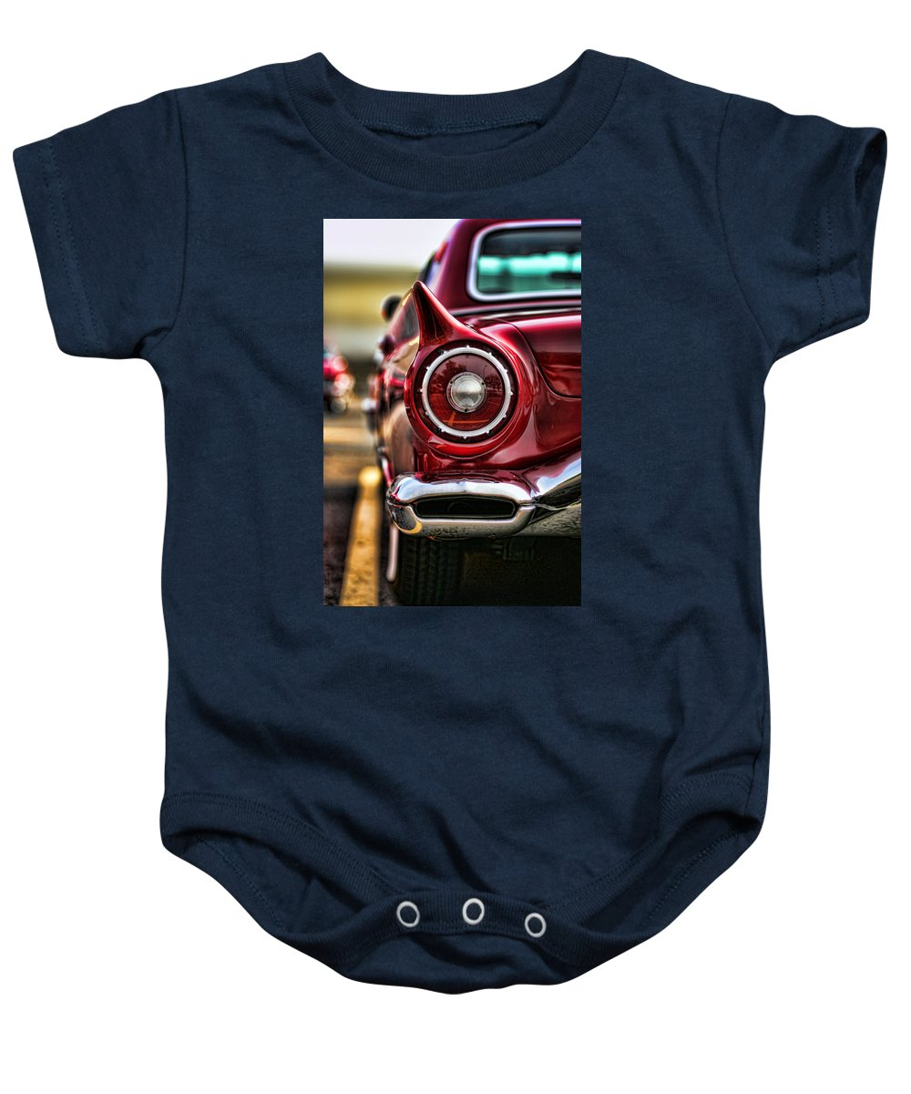 1957 Baby Onesie featuring the photograph 1957 Ford Thunderbird Red Convertible by Gordon Dean II