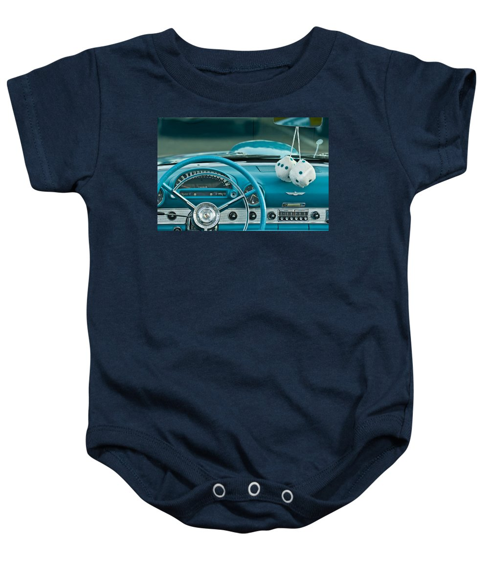 1960 Teal Ford Thunderbird Baby Onesie featuring the photograph 1960 Ford Thunderbird Dash by Jill Reger