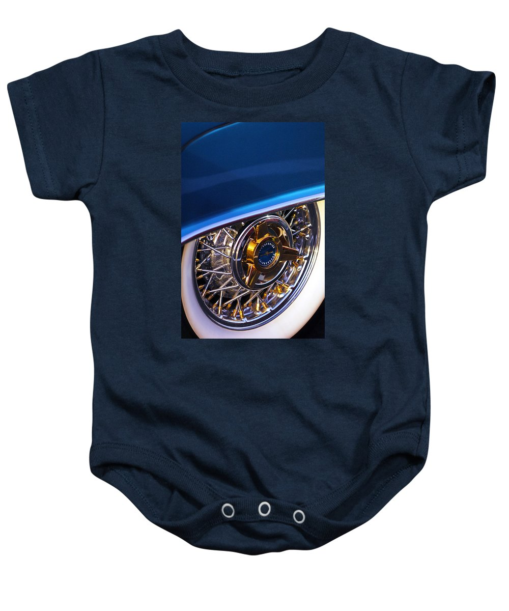 Car Baby Onesie featuring the photograph 1957 Ford Thunderbird Wheel by Jill Reger
