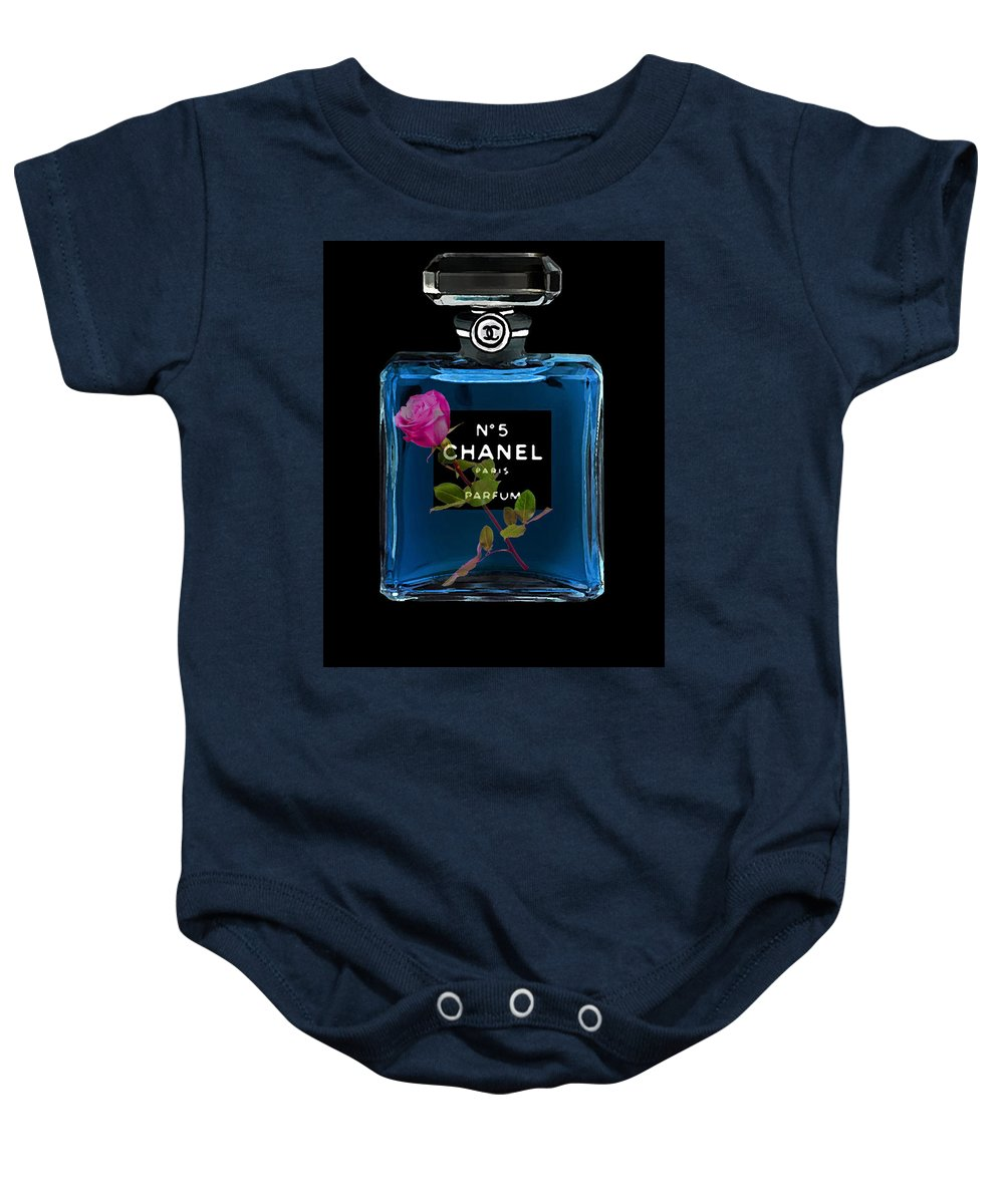 Chanel Baby Onesie featuring the painting Chanel With Rose by Del Art