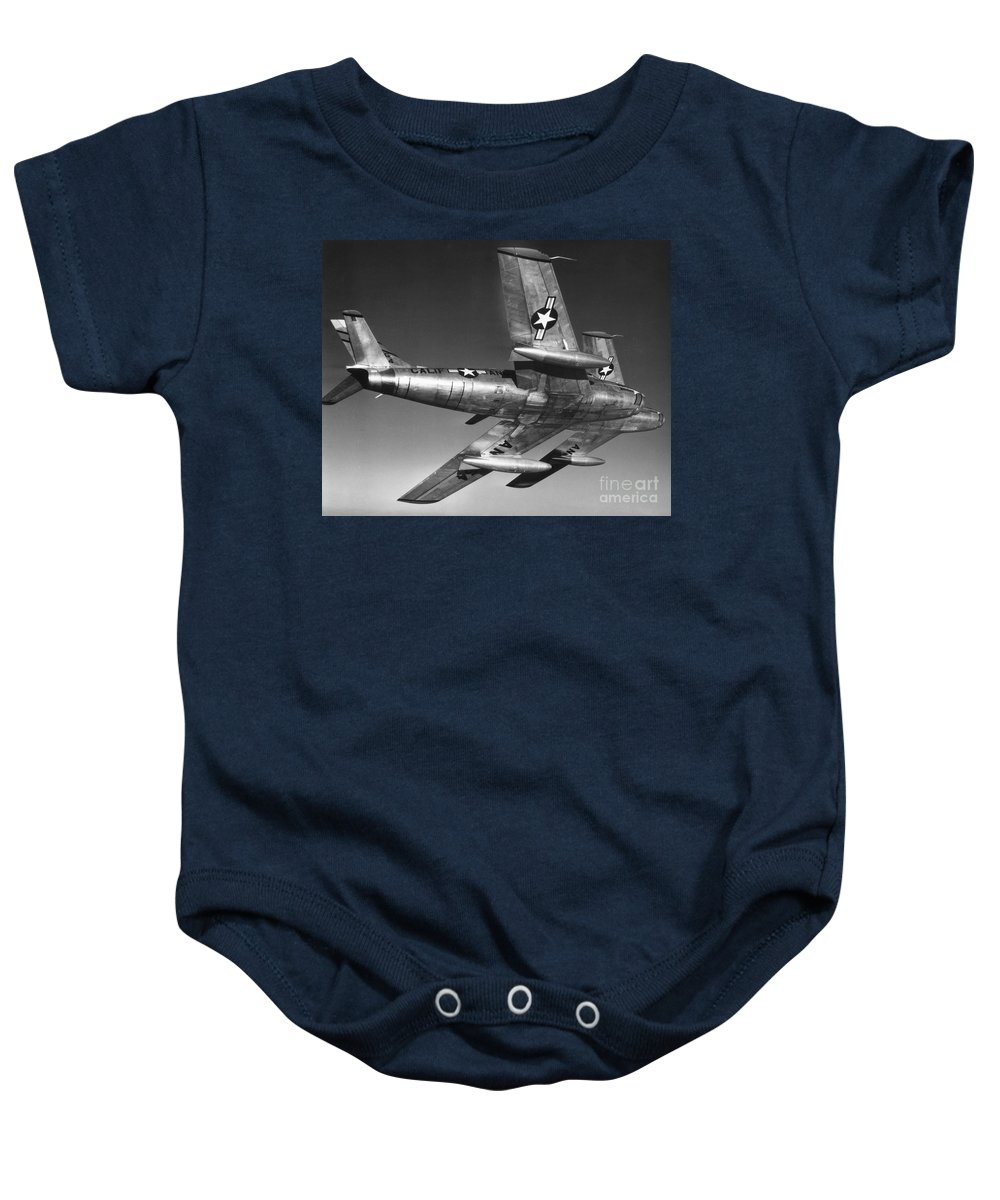 20th Century Baby Onesie featuring the photograph F-86 Jet Fighter Plane by Granger