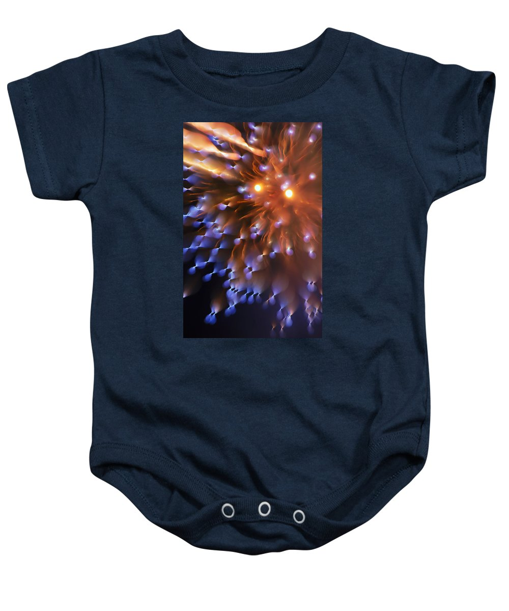 Fireworks Baby Onesie featuring the photograph Fireworks Abstract by Thomas Morris