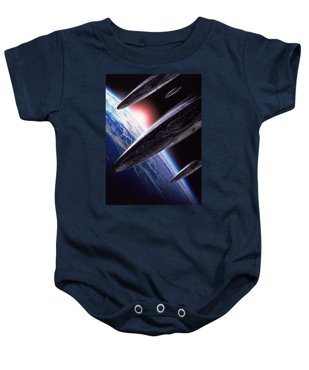 Independence Day 1996 Baby Onesie featuring the digital art Independence Day 1996 by Geek N Rock