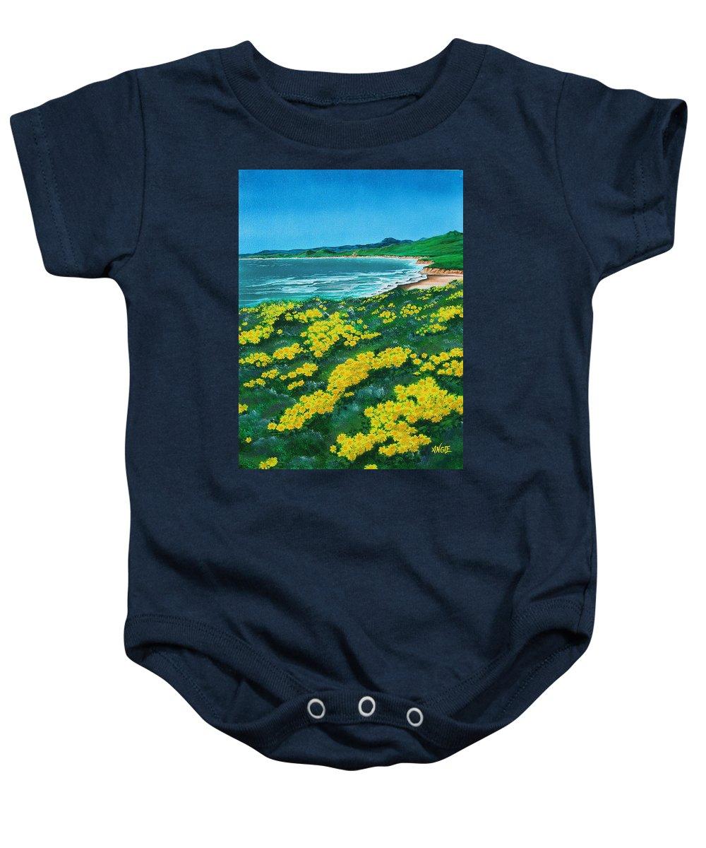 Jalama Baby Onesie featuring the painting Jalama Beach by Angie Hamlin