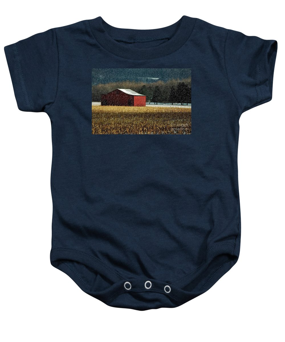 Barn Baby Onesie featuring the photograph Snowy Red Barn In Winter by Lois Bryan