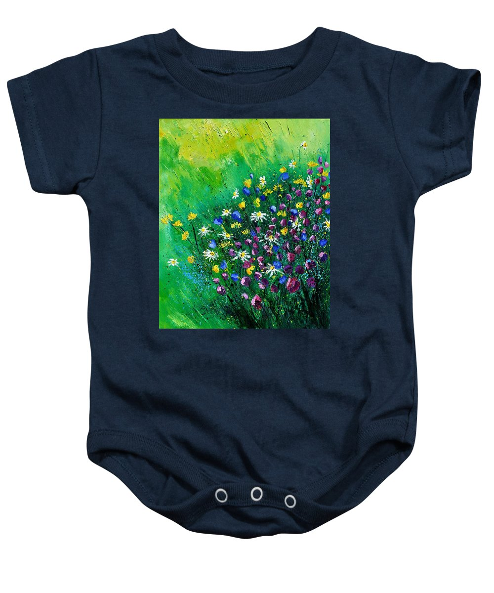 Flowers Baby Onesie featuring the painting Wild Flowers by Pol Ledent