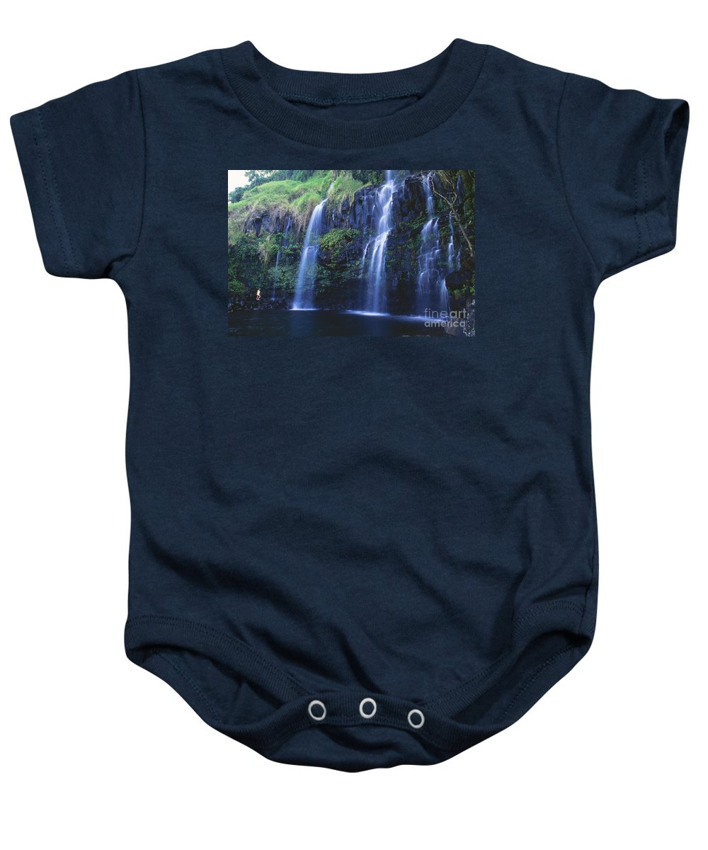 Active Baby Onesie featuring the photograph Woman At Waterfall by Dave Fleetham - Printscapes