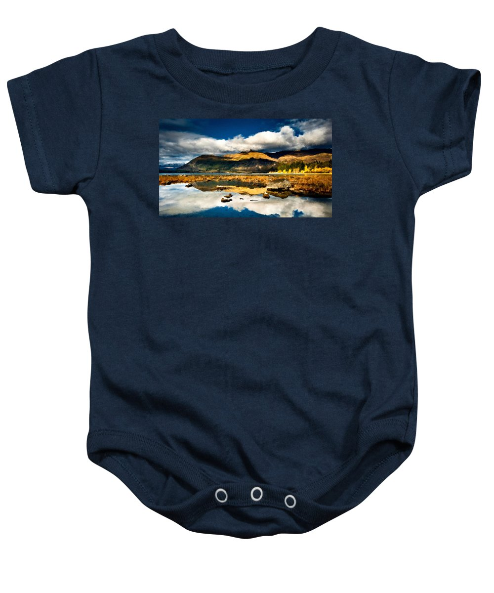 Oil Baby Onesie featuring the digital art Art Landscape by Usa Map
