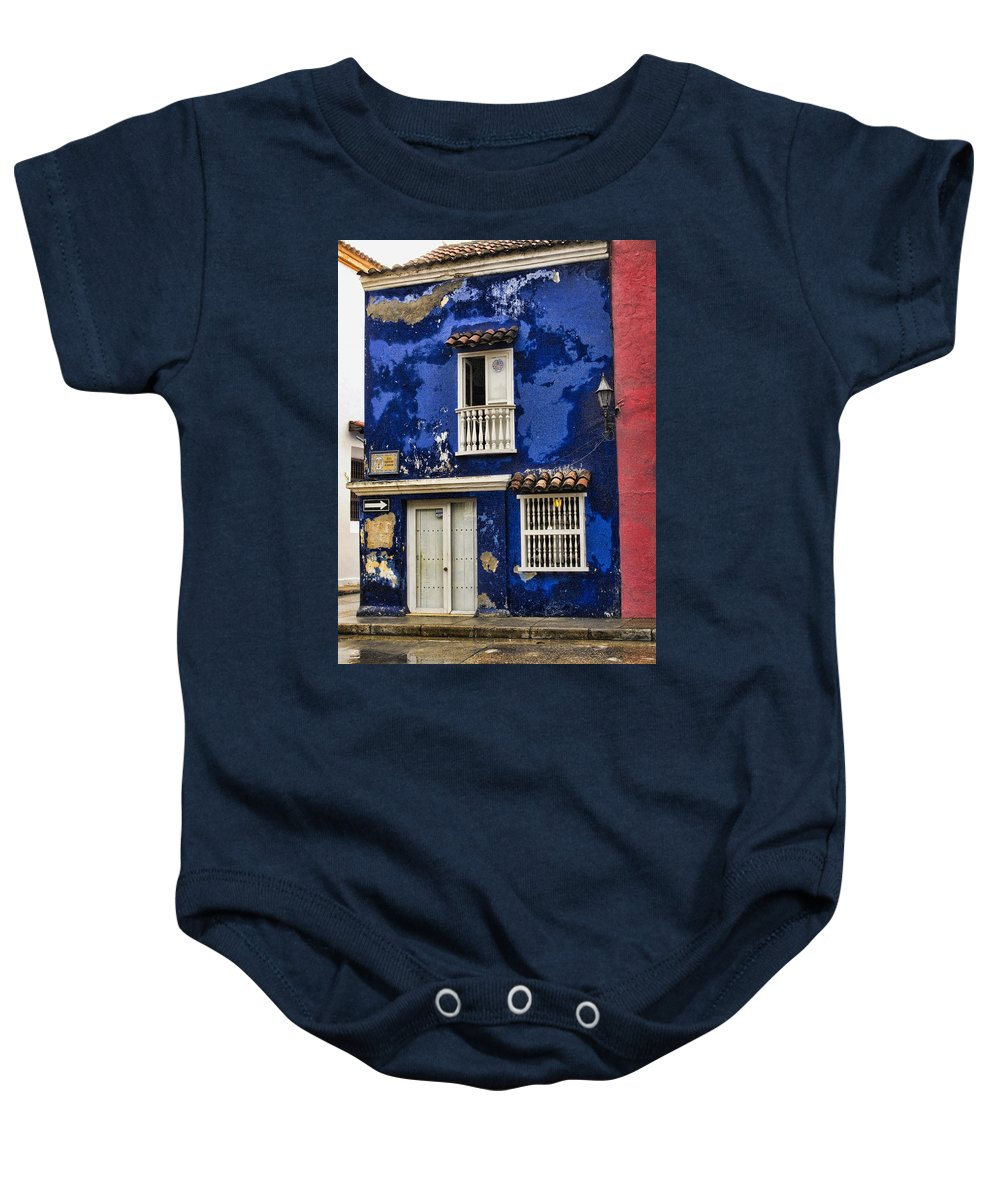 Cartagena Baby Onesie featuring the photograph Colonial Buildings In Old Cartagena Colombia by David Smith