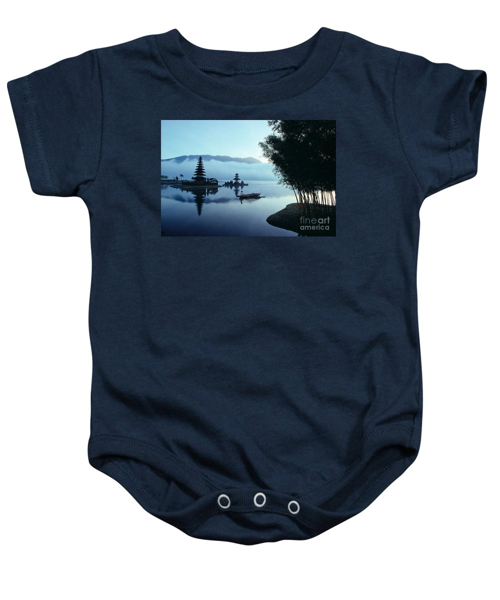 Bratan Baby Onesie featuring the photograph Ulu Danu Temple by William Waterfall - Printscapes
