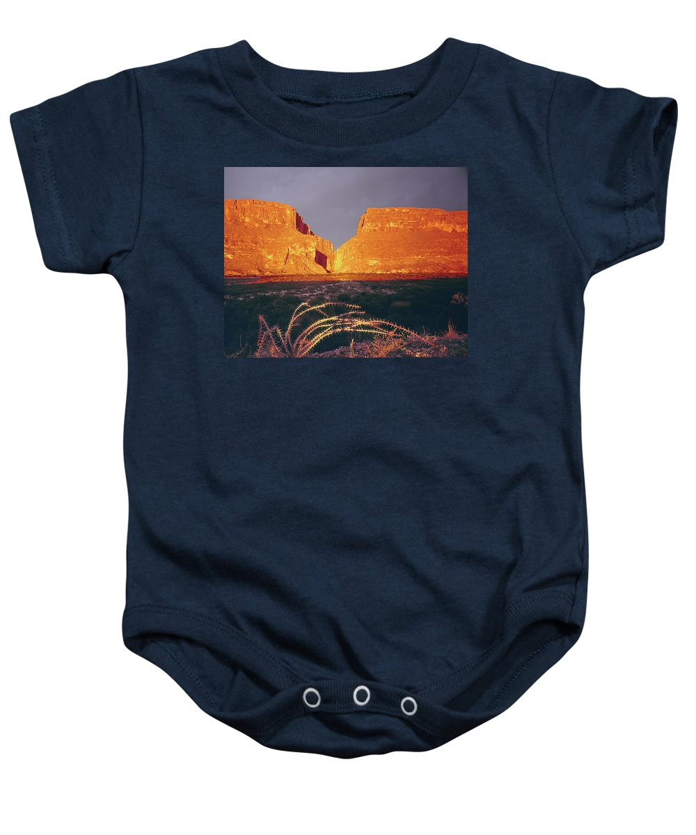 317828 Baby Onesie featuring the photograph 317828 Sunrise On Santa Elena Canyon by Ed Cooper Photography