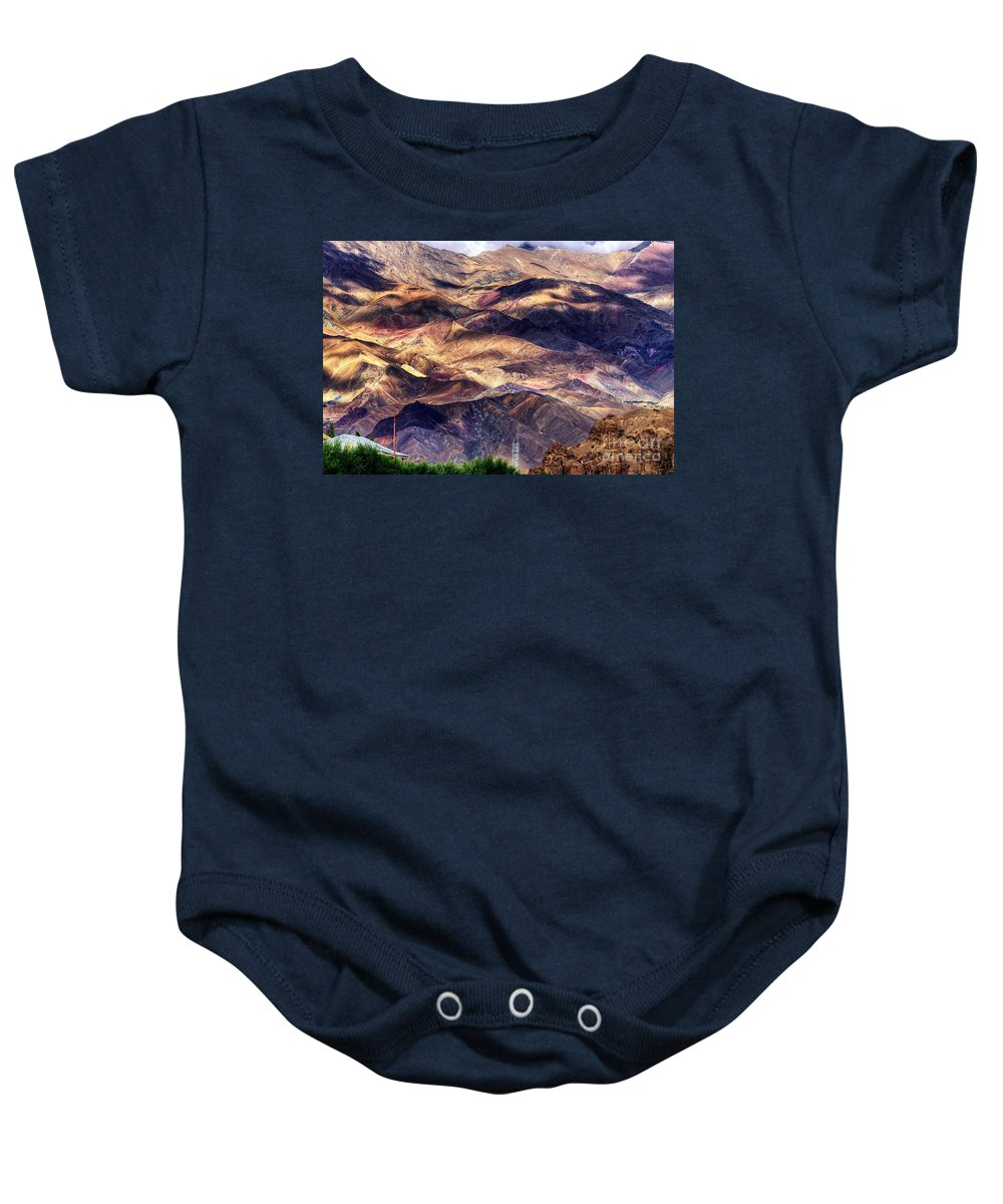 Landscape Baby Onesie featuring the photograph aerial view of Leh ladakh landscape Jammu and Kashmir India by Rudra Narayan Mitra