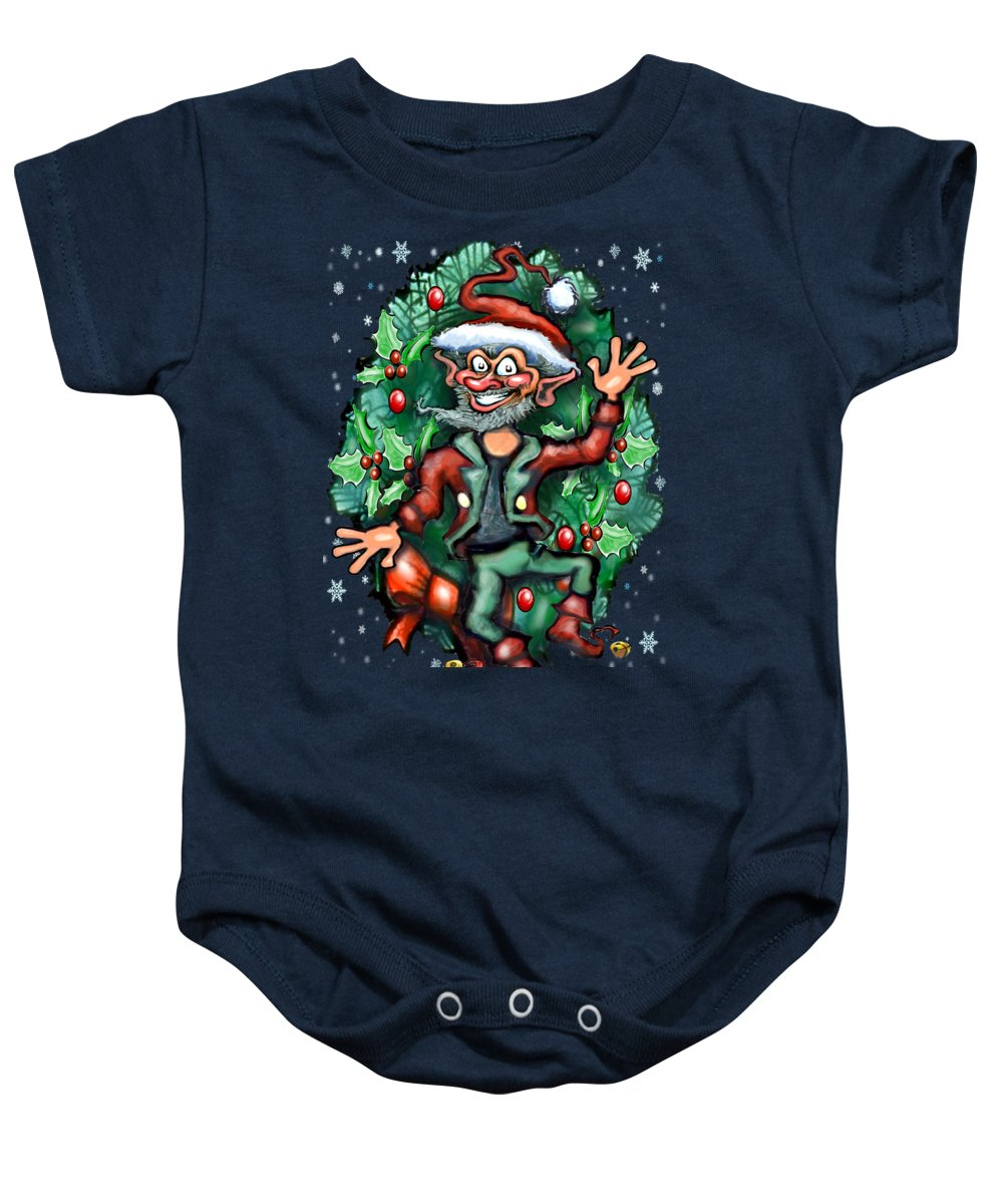 Christmas Baby Onesie featuring the painting Christmas Elf by Kevin Middleton