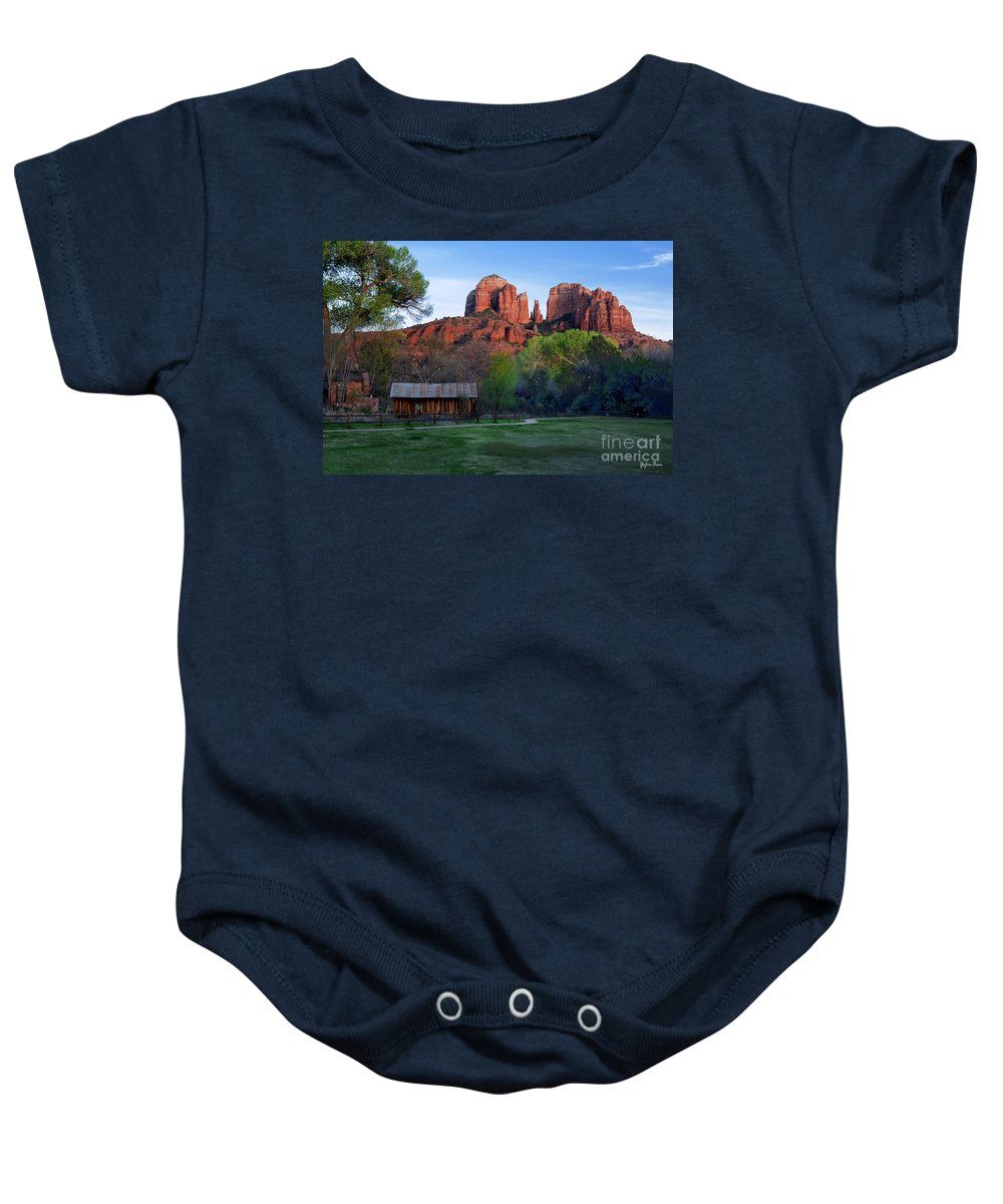 Cathedral Rock Baby Onesie featuring the photograph Cathedral Rock by Yefim Bam