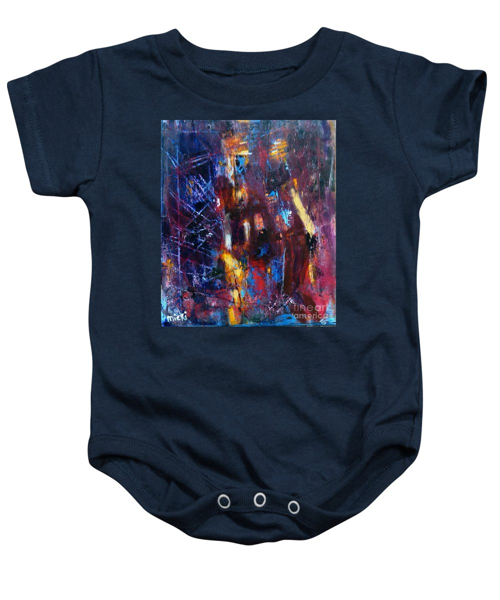 Abstract Baby Onesie featuring the painting A Chance Meeting In The City by Micki Davis