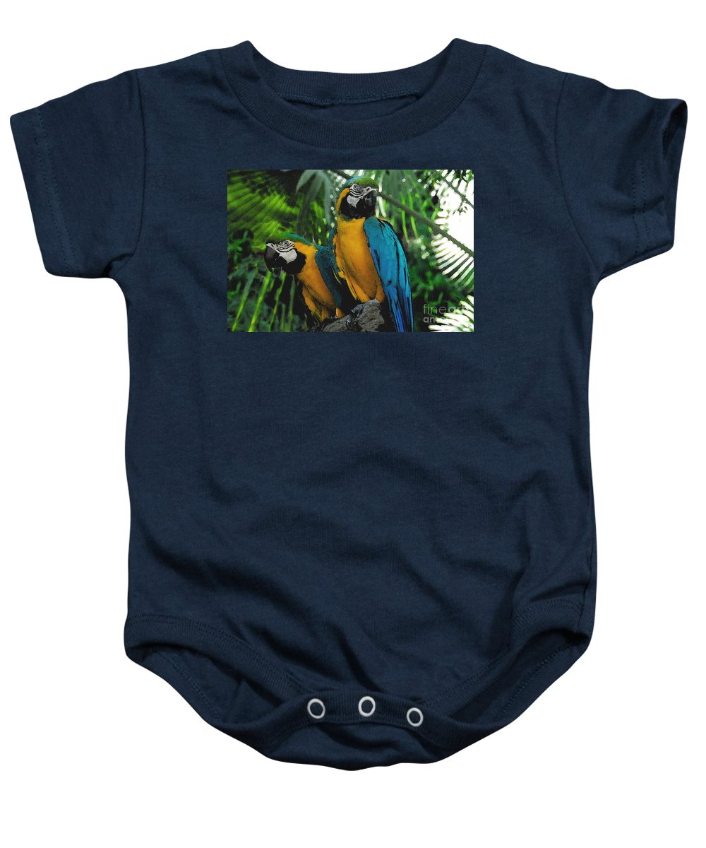 Tropical Baby Onesie featuring the painting A Curious Pair by David Lee Thompson