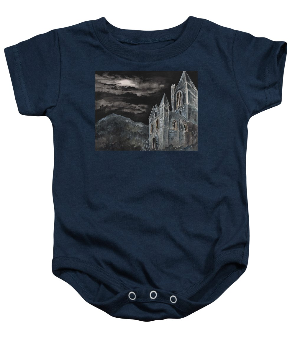 Landscape Gothic House Castle Church Dark Sky Watercolor Baby Onesie featuring the painting A Dark Strange Night by Brenda Owen