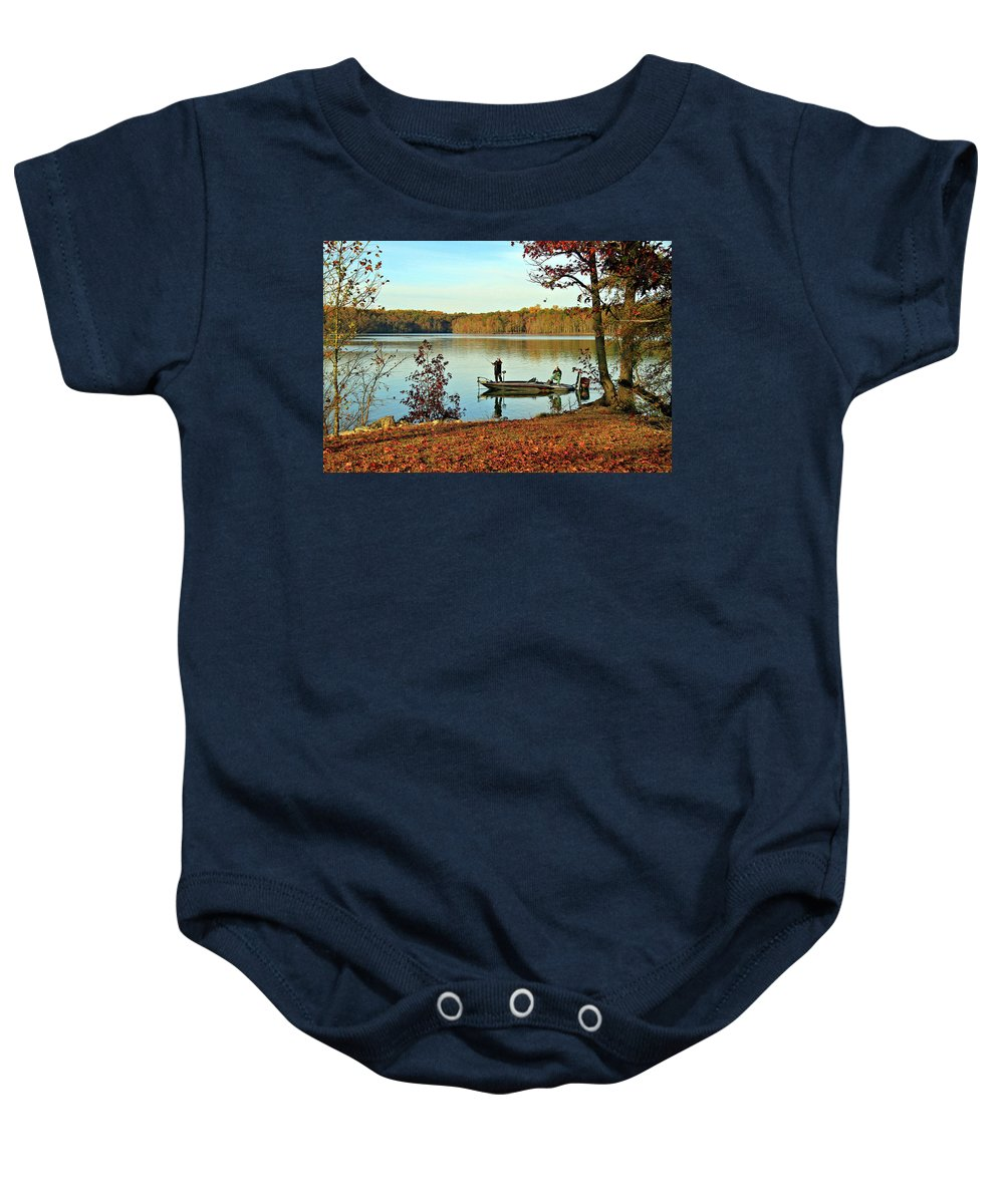 Fishing Baby Onesie featuring the photograph A Fishing We Will Go by John Lewis