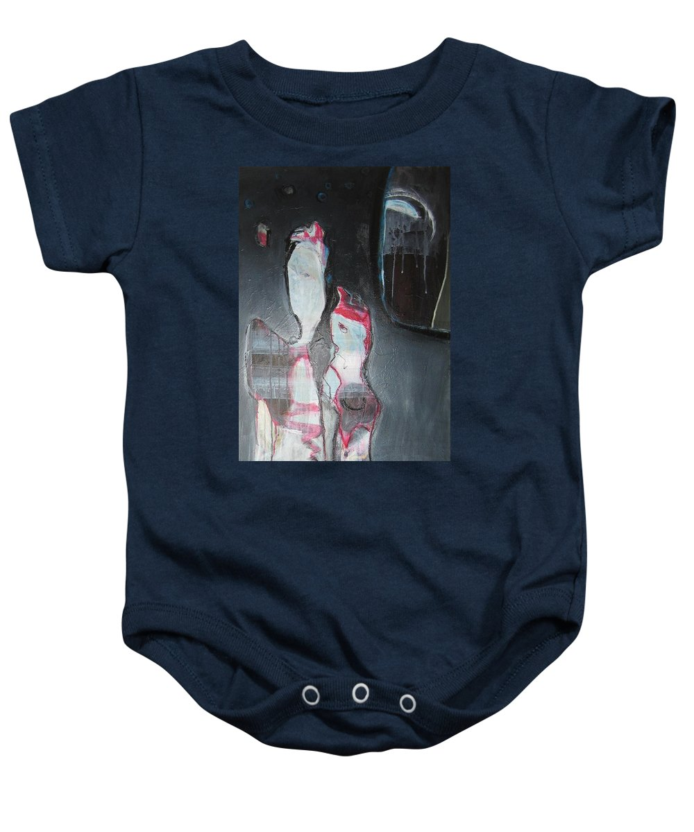 Abstract Paintings Baby Onesie featuring the painting A Flase Rumor by Seon-Jeong Kim