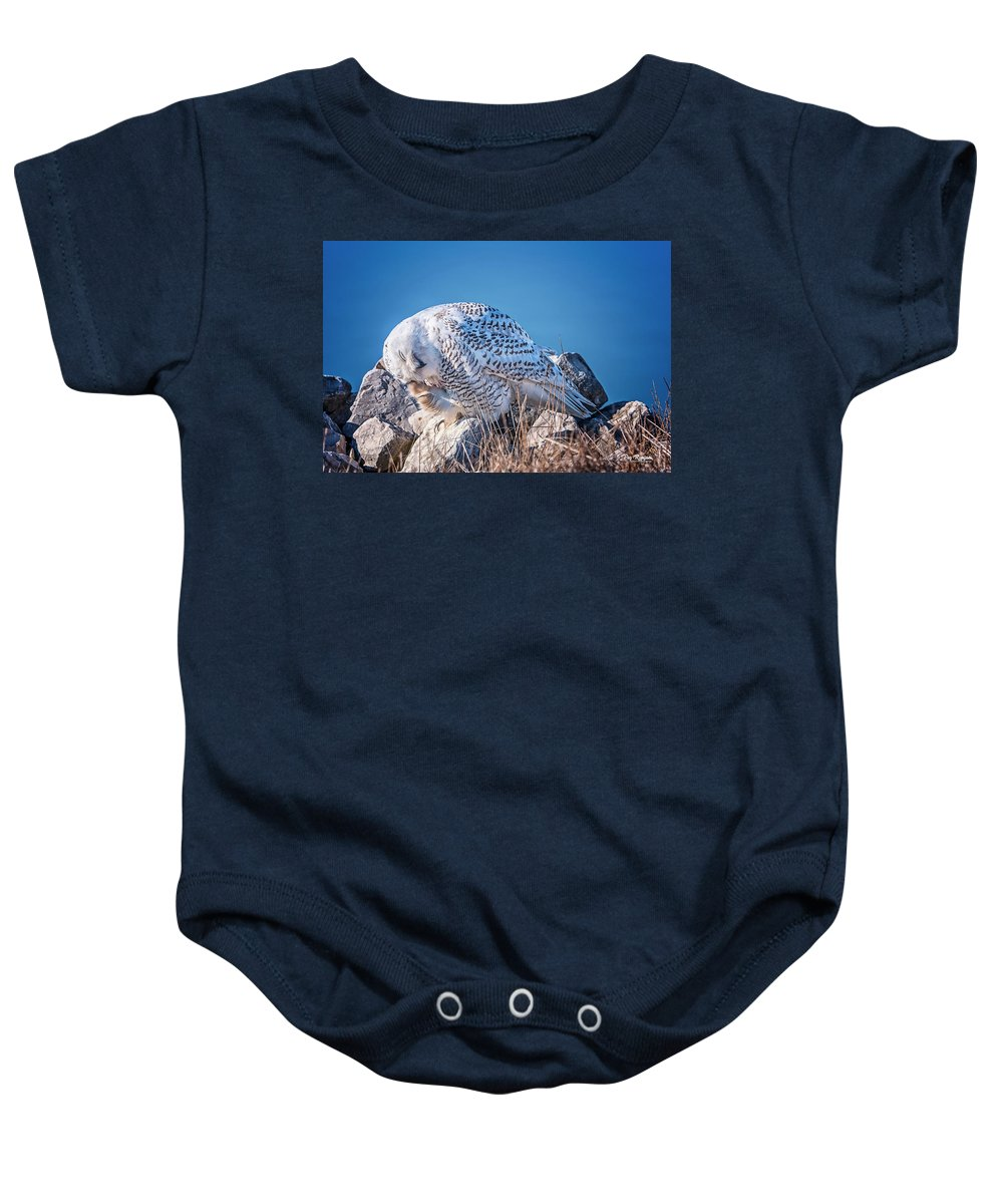 Owl Baby Onesie featuring the photograph A Good Scratch by Peg Runyan