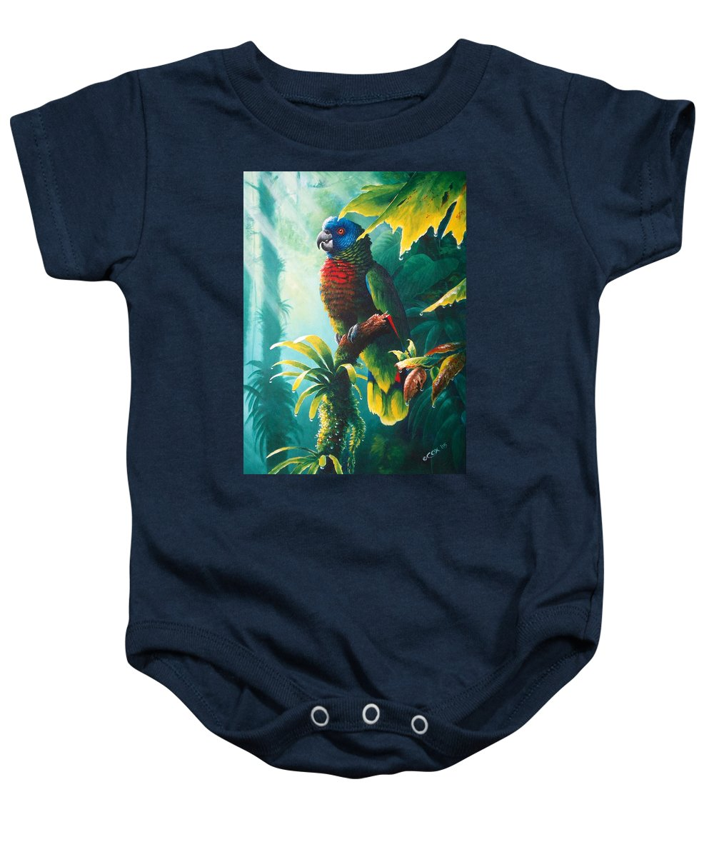 Chris Cox Baby Onesie featuring the painting A Shady Spot - St. Lucia Parrot by Christopher Cox