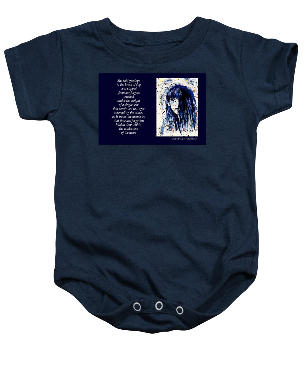 Poetry Baby Onesie featuring the mixed media A Single Tear - Poetry In Art by Robin Monroe