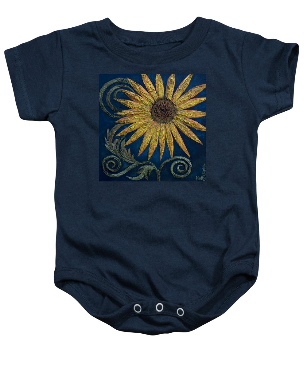 Sunflower Baby Onesie featuring the painting A Sunflower by Kelly Jade King