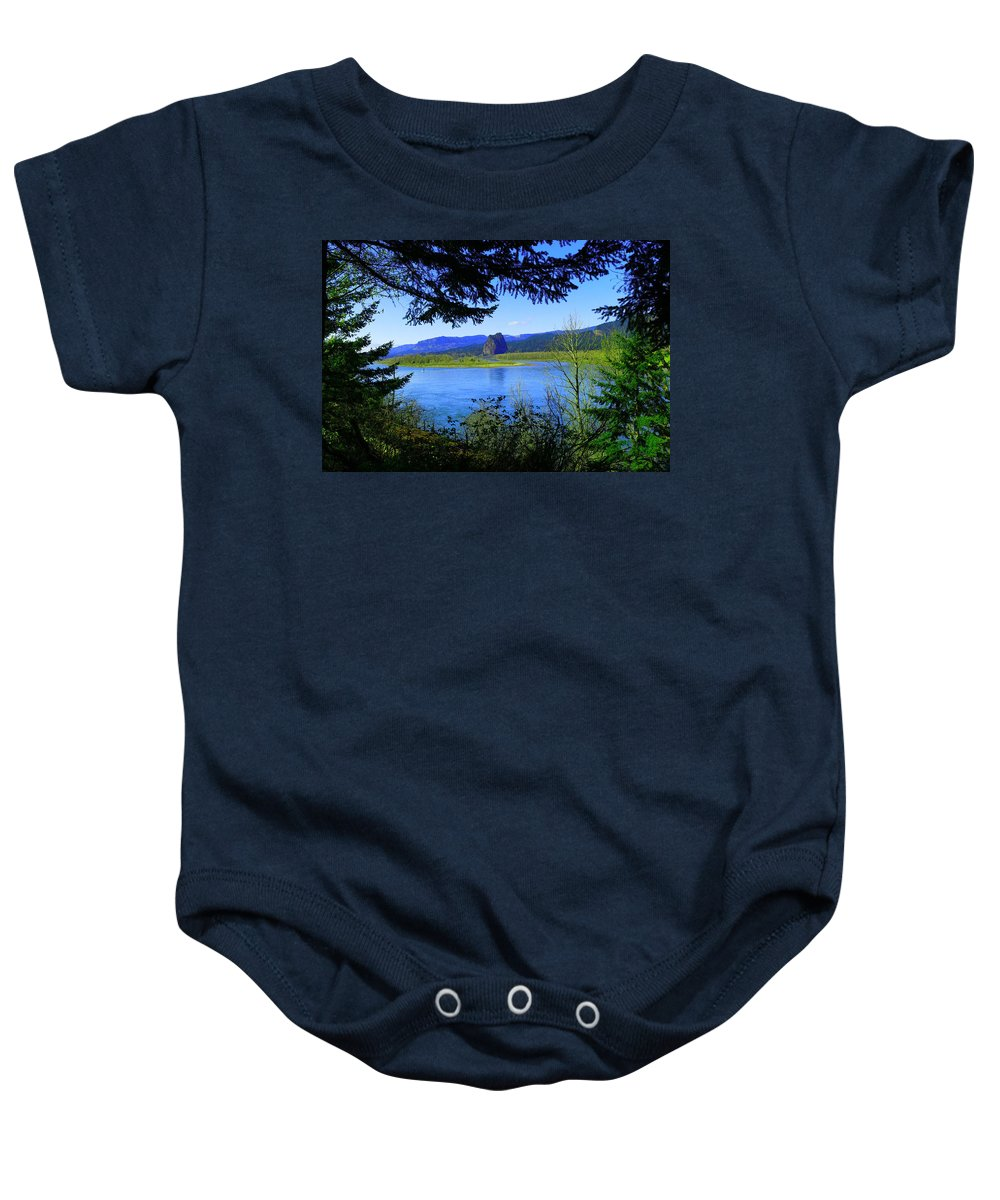 Beacon Rock Baby Onesie featuring the photograph A View Of Beacon Rock by Jeff Swan