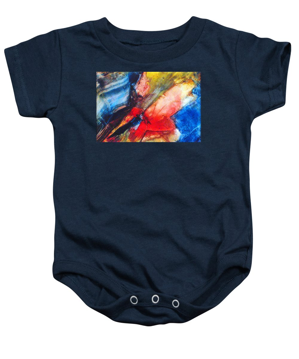 Abstract Baby Onesie featuring the painting Above The Sea by Janice Nabors Raiteri