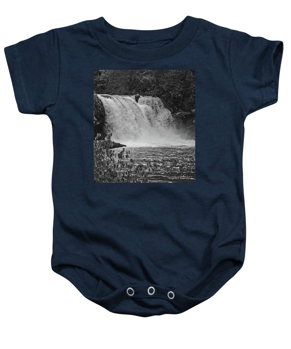 Abrams Falls Baby Onesie featuring the digital art Abrams Falls Cades Cove Tn Black And White by DigiArt Diaries by Vicky B Fuller