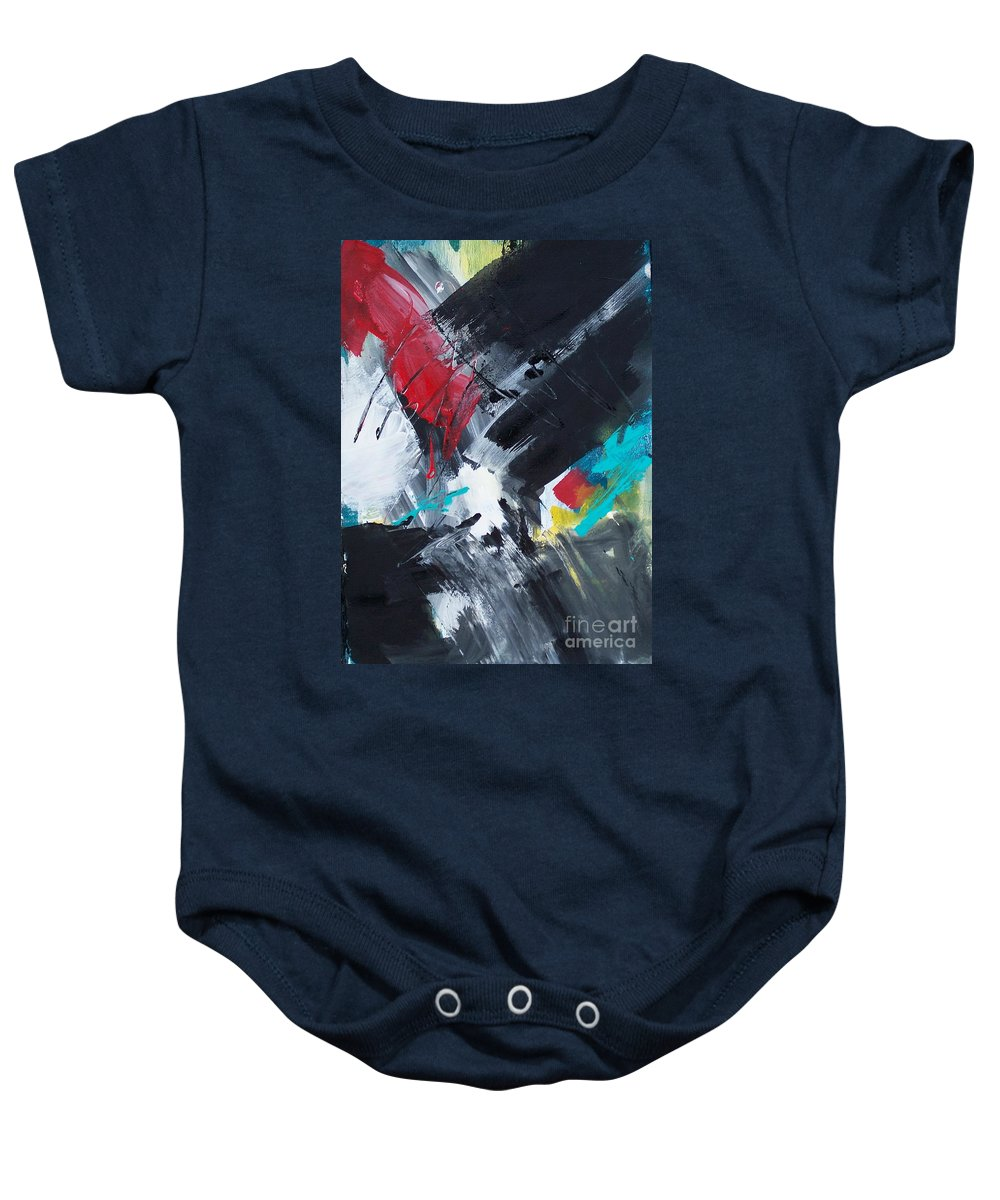 Abstract Baby Onesie featuring the painting Abstract 026 by Donna Frost