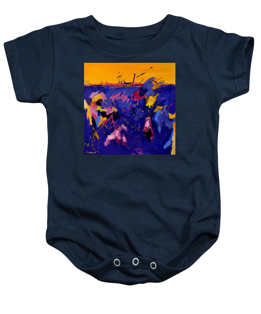 Abstract Baby Onesie featuring the painting Abstract 880160 by Pol Ledent