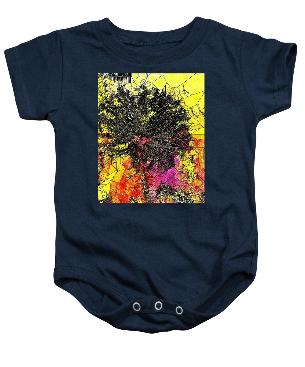 Dandelion Baby Onesie featuring the digital art Abstract Dandelion Stained Glass by Mo Barton