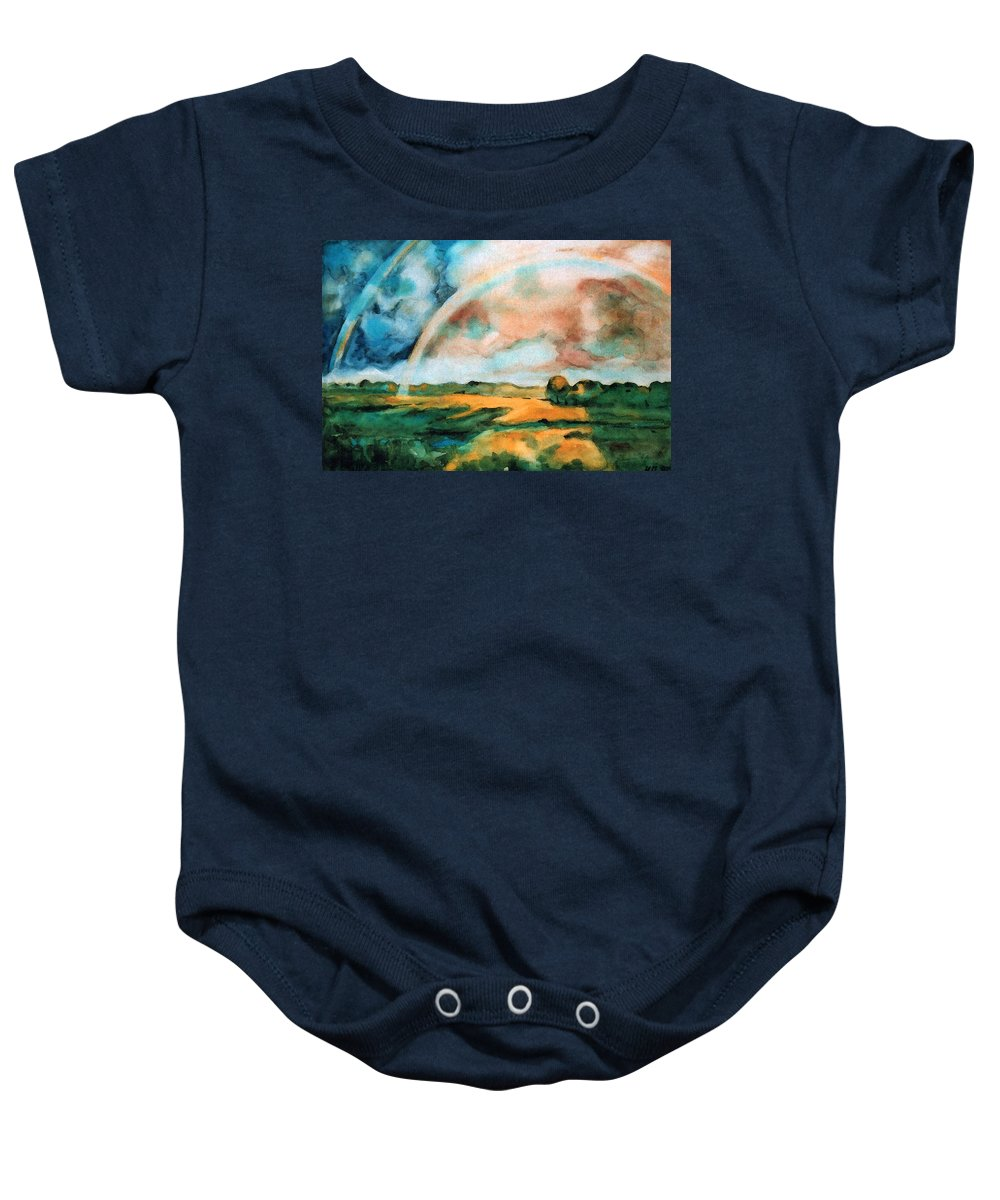 Landscape Baby Onesie featuring the painting After The Rain by Iliyan Bozhanov