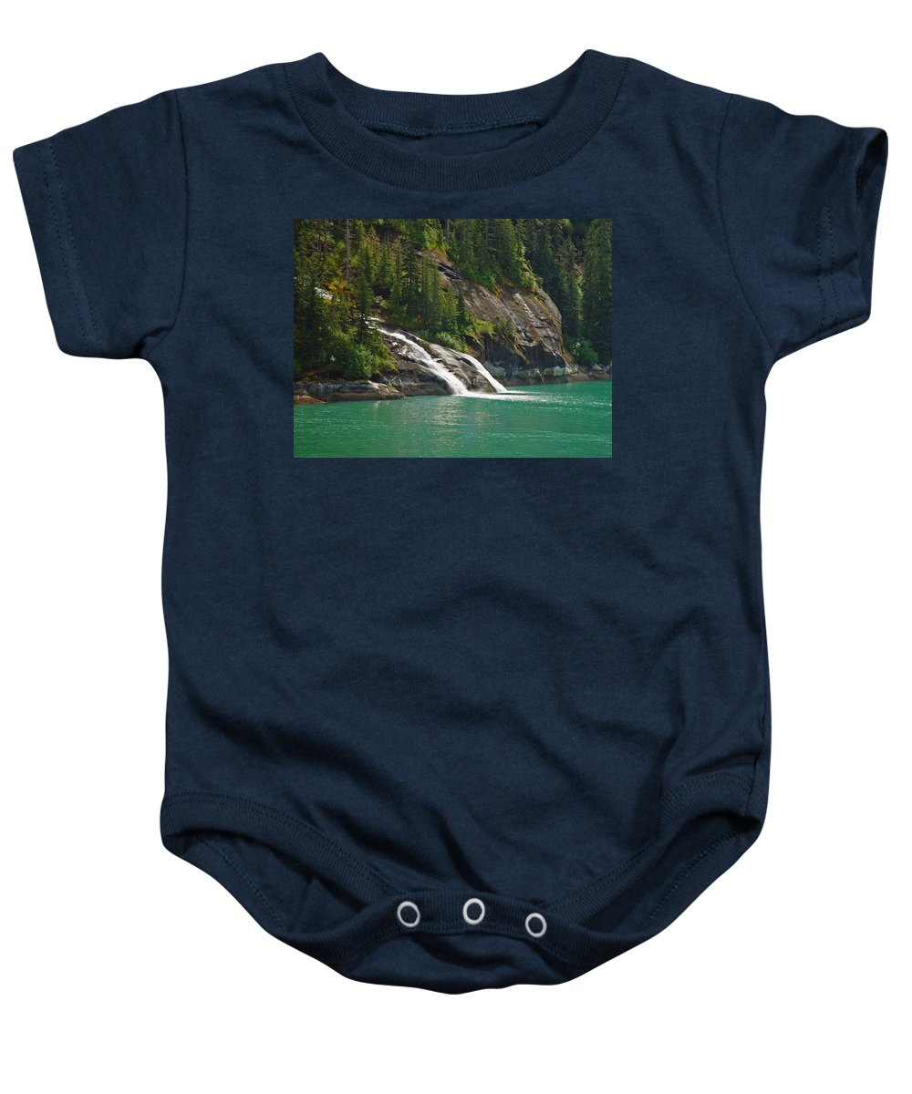 Waterfall Baby Onesie featuring the photograph Alaska Tracy Arm by Heather Coen