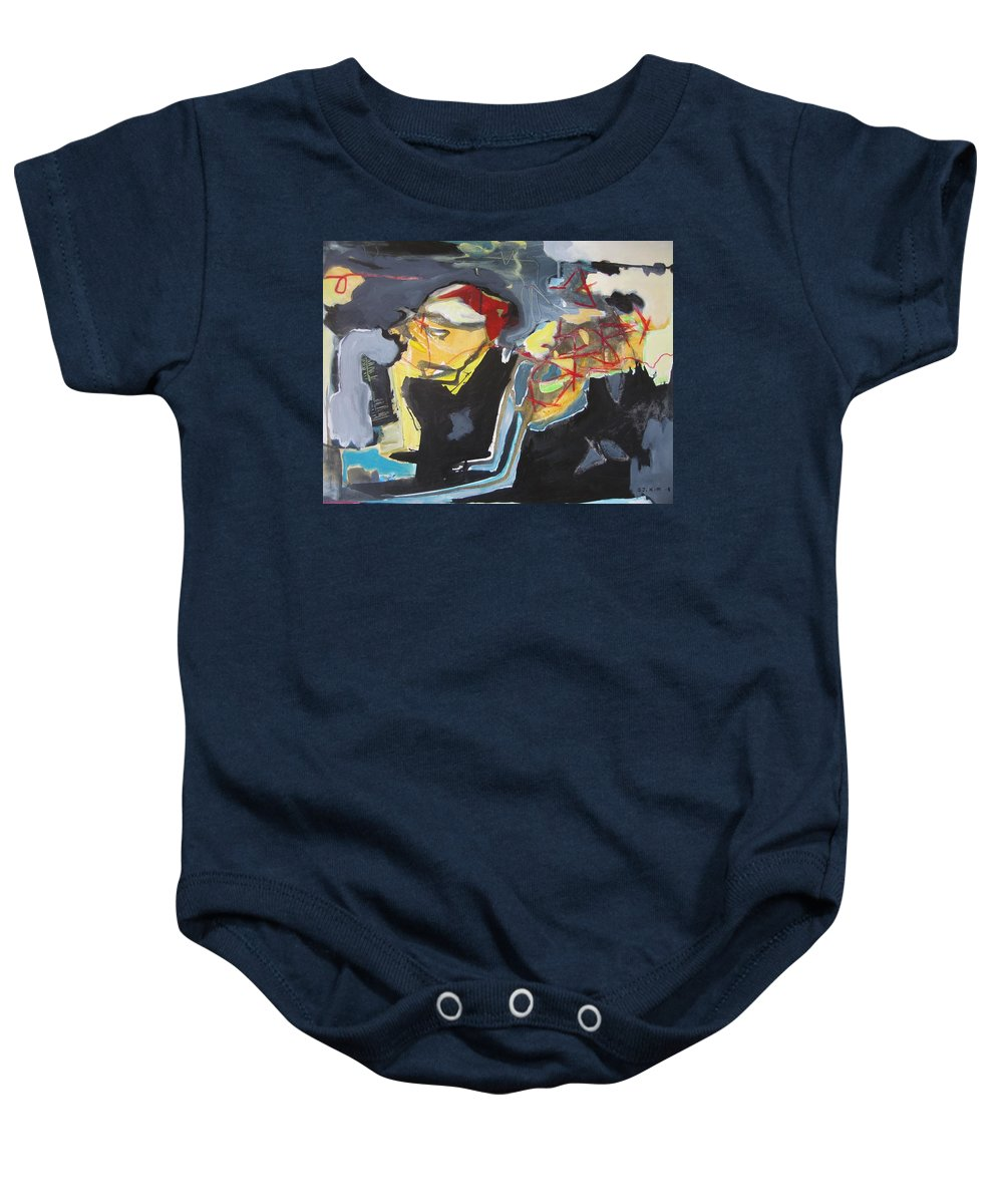 Abstract Paintings Baby Onesie featuring the painting Alexander Trail by Seon-Jeong Kim