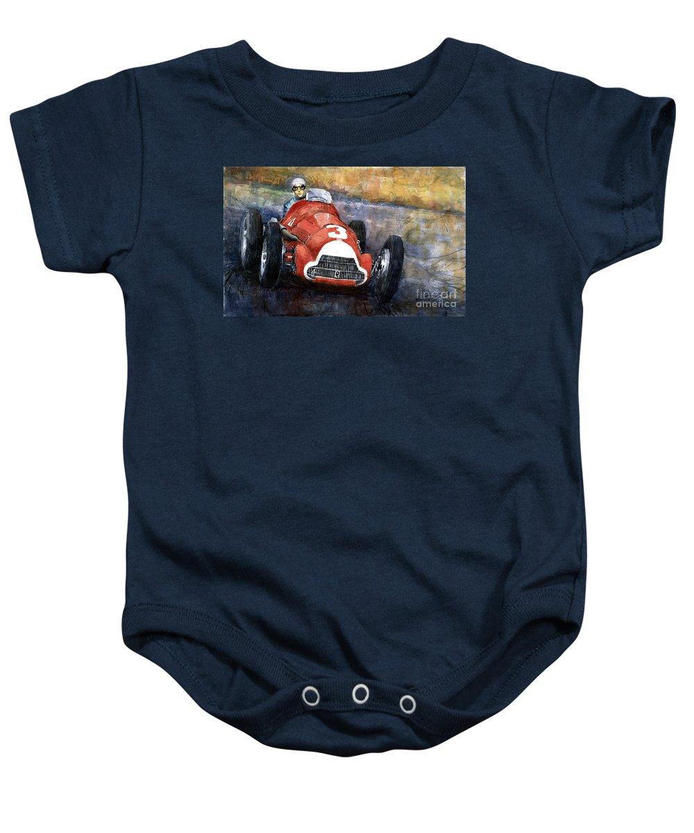 Alfaromeo158 Baby Onesie featuring the painting Alfa Romeo158 British Gp 1950 Luigi Fagioli by Yuriy Shevchuk