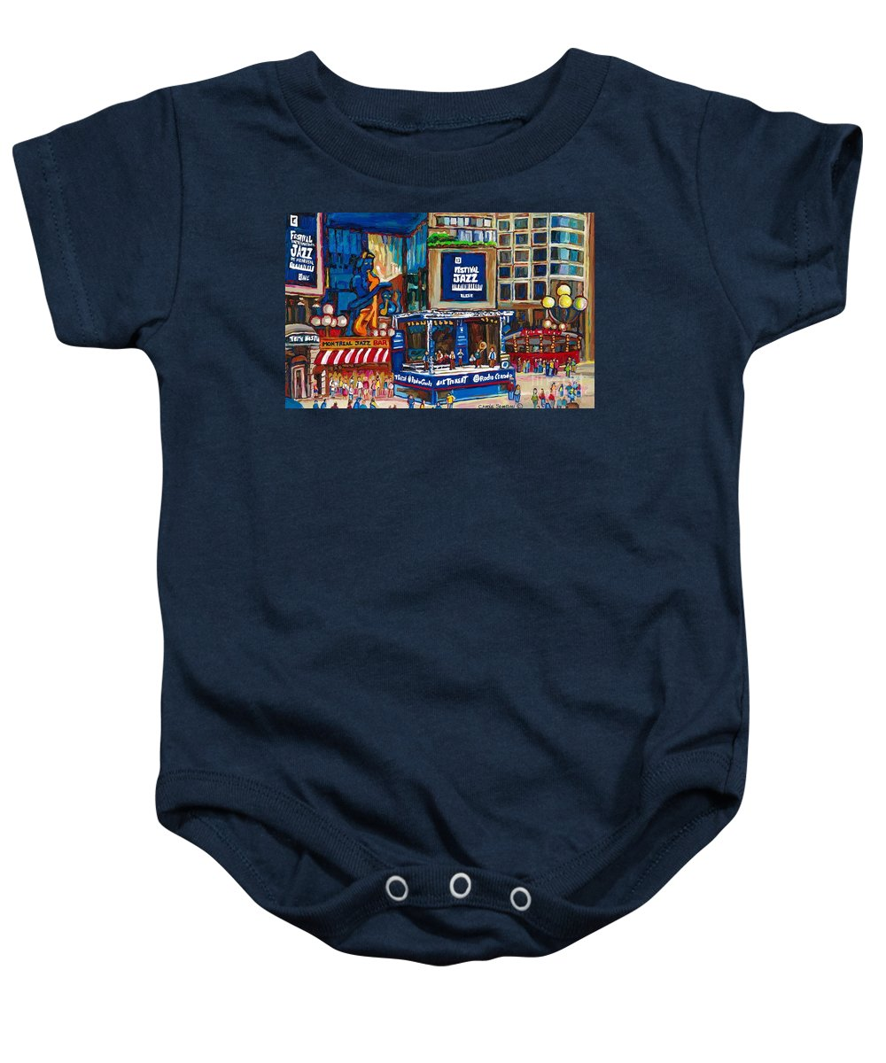Montreal Baby Onesie featuring the painting All That Jazz by Carole Spandau