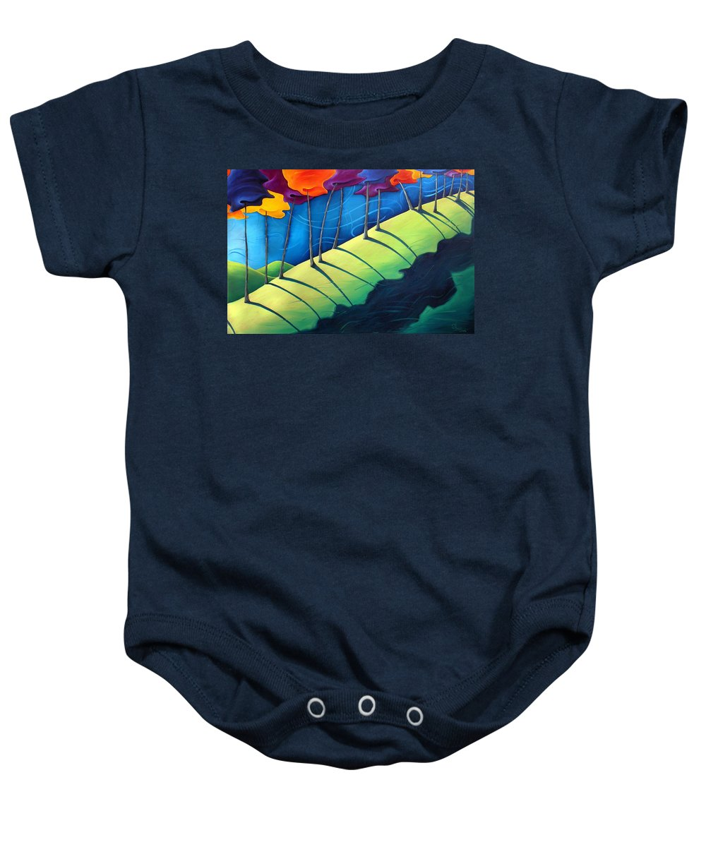 Landscape Baby Onesie featuring the painting All The Same In The End by Richard Hoedl