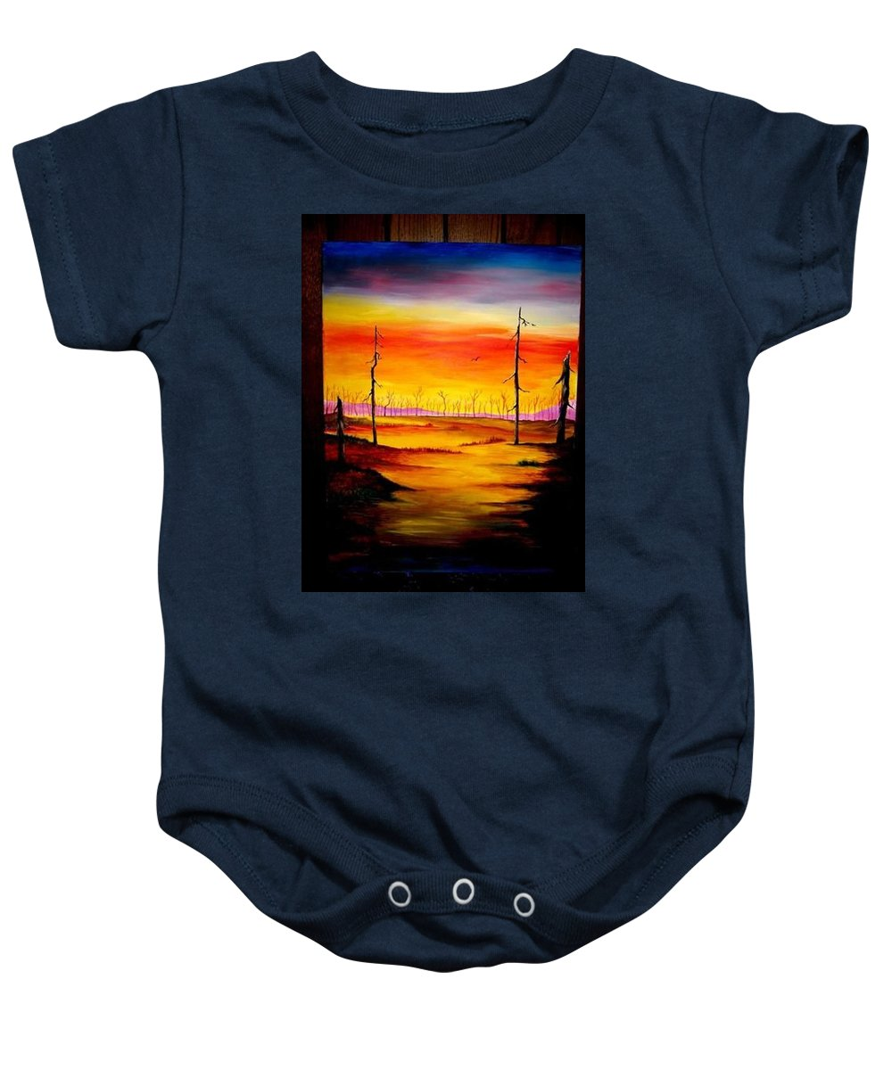 Landscape Baby Onesie featuring the painting Alone by Glory Fraulein Wolfe