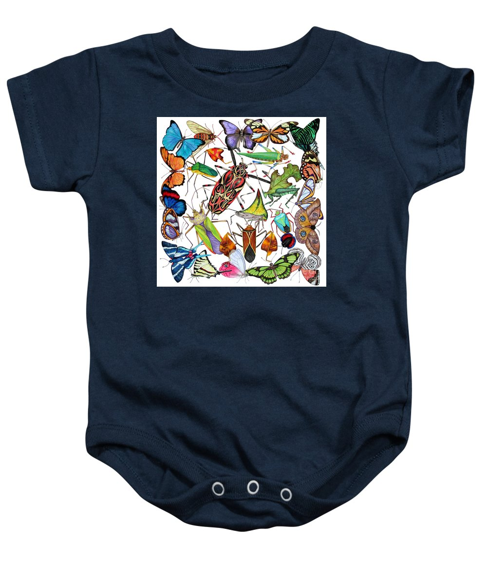 Insects Baby Onesie featuring the painting Amazon Insects by Lucy Arnold