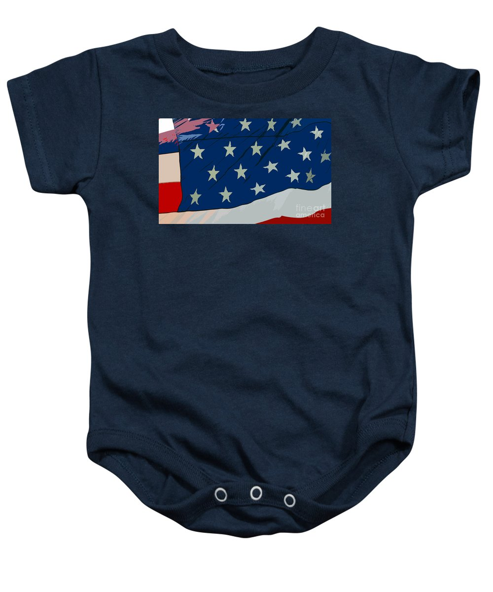 Flag Baby Onesie featuring the painting American Beauty by David Lee Thompson