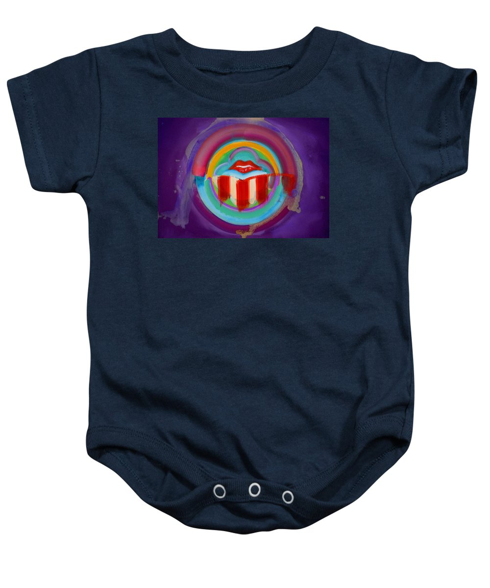 Button Baby Onesie featuring the painting American Kiss by Charles Stuart