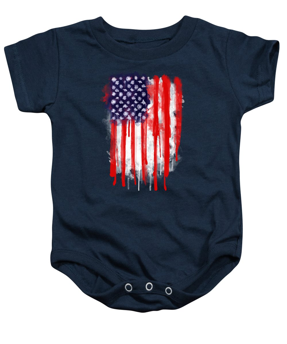 America Baby Onesie featuring the painting American Spatter Flag by Nicklas Gustafsson