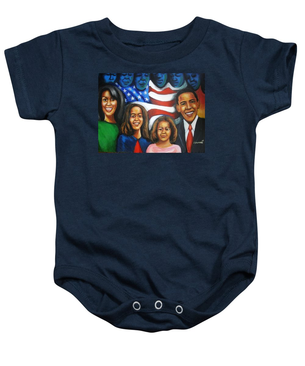 White House Baby Onesie featuring the painting America's First Family by Jan Gilmore